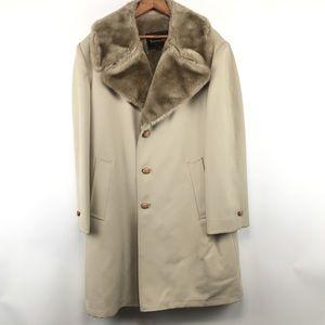 Botany 500 XL cream faux fur lined long jacket